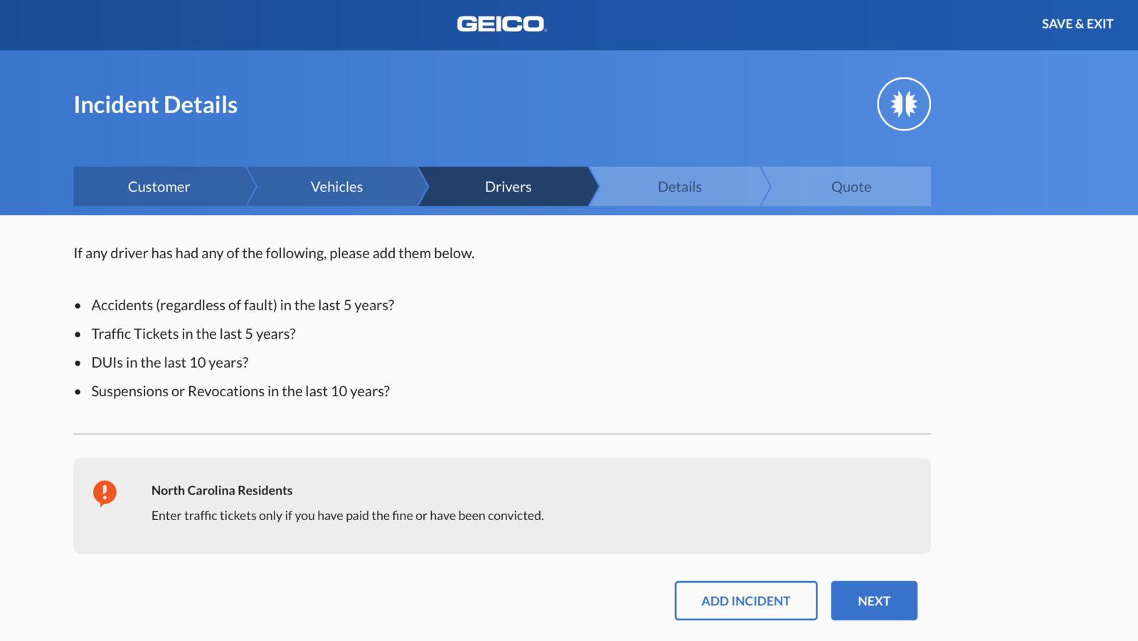 geico website driver incident information screen