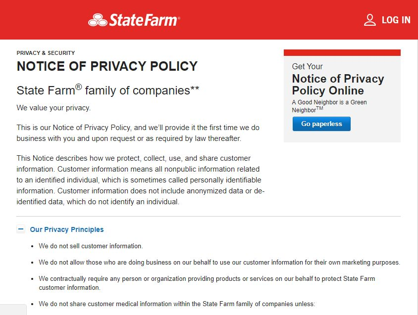 state farm website notice of privacy policy