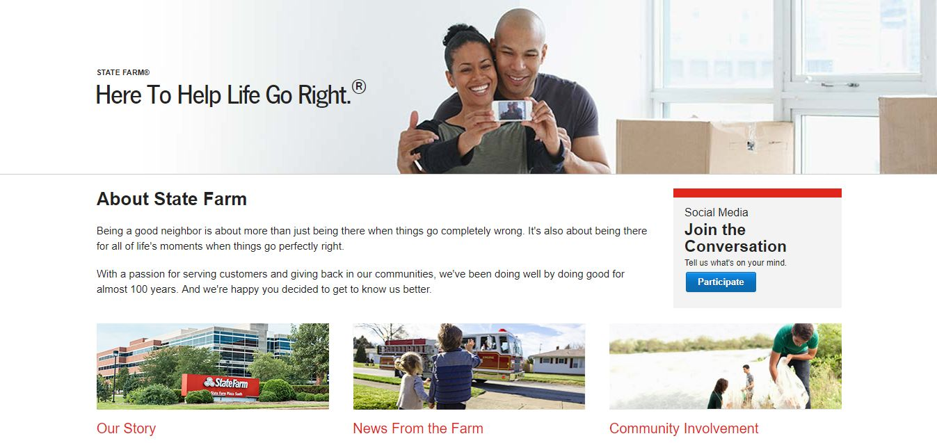 state farm website about us page