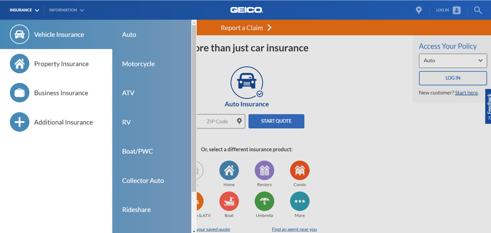 geico mobile website insurance drop down menu screen