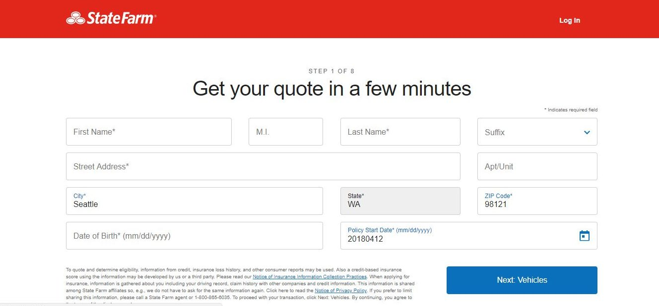 State farm website quote personal information