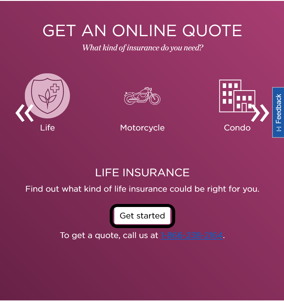 Nationwide website Get an Online Quote screen