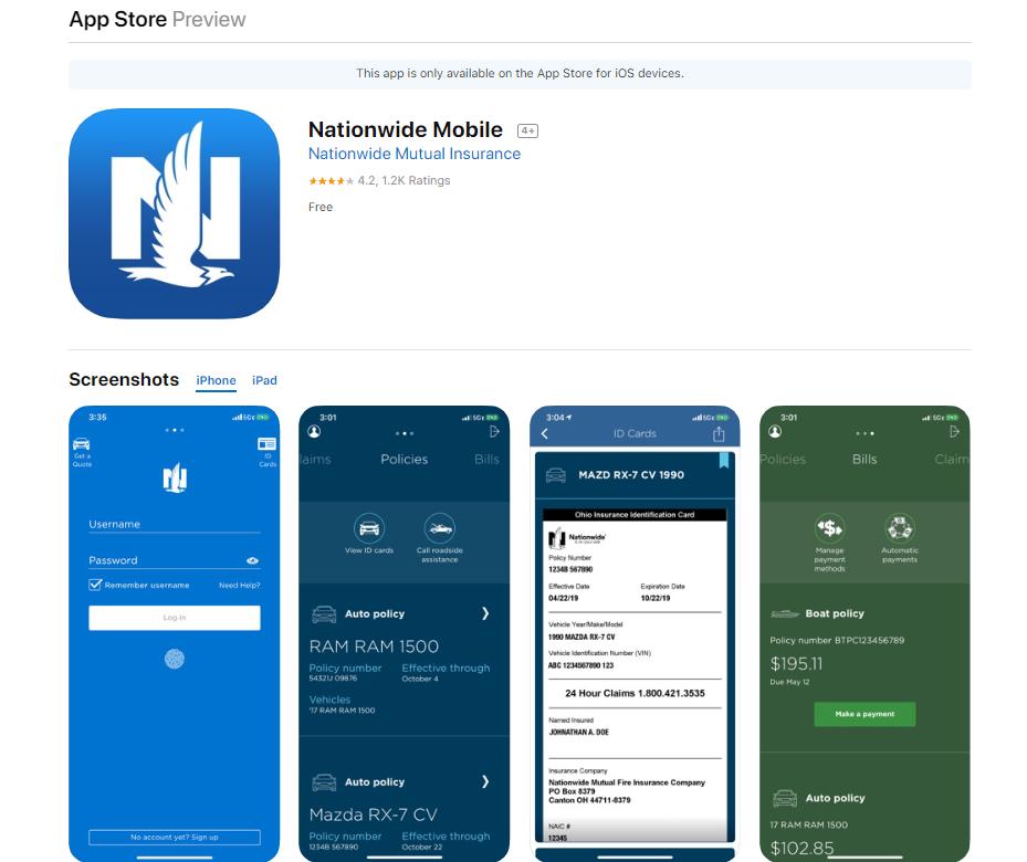 Nationwide app screenshots in Apple Store