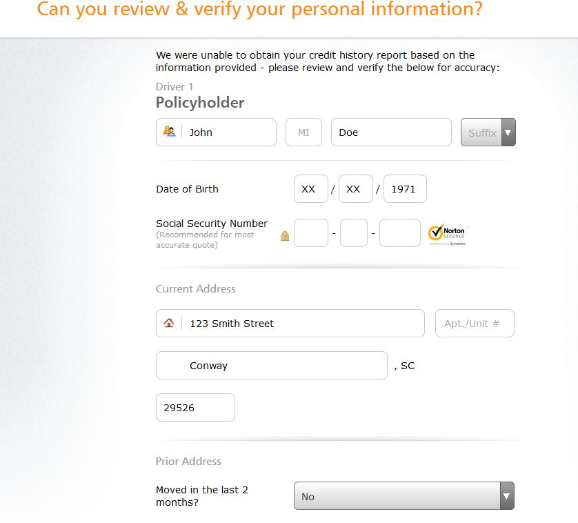Progressive auto insurance quote information verification