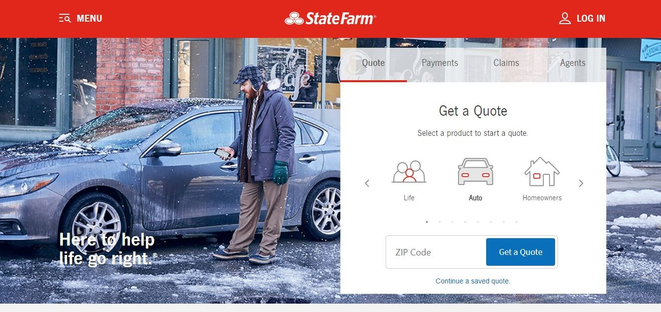 state farm website get a quote screen