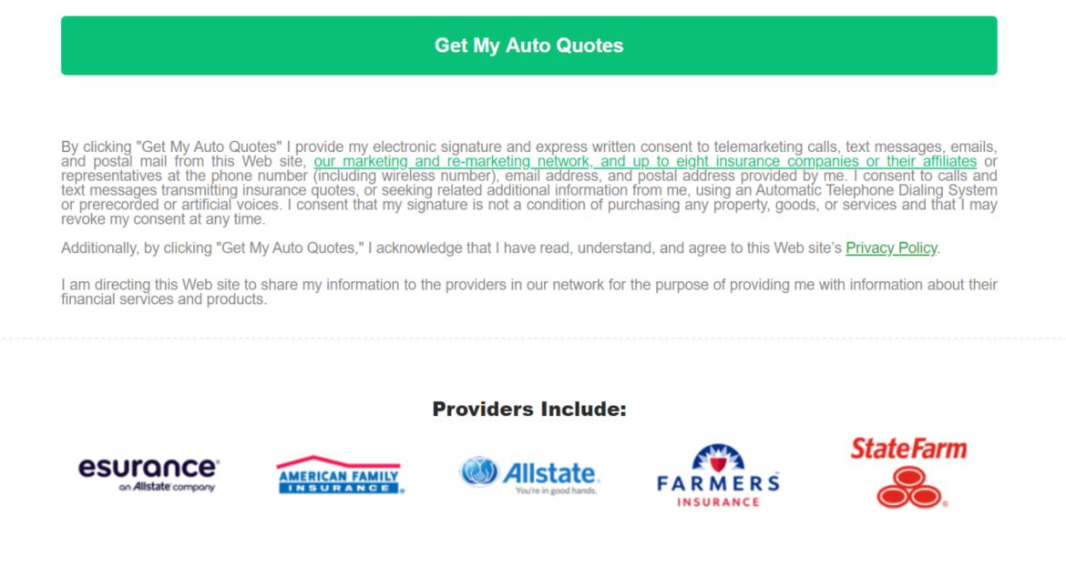 QuoteWizard Auto Insurance Website Privacy Policy
