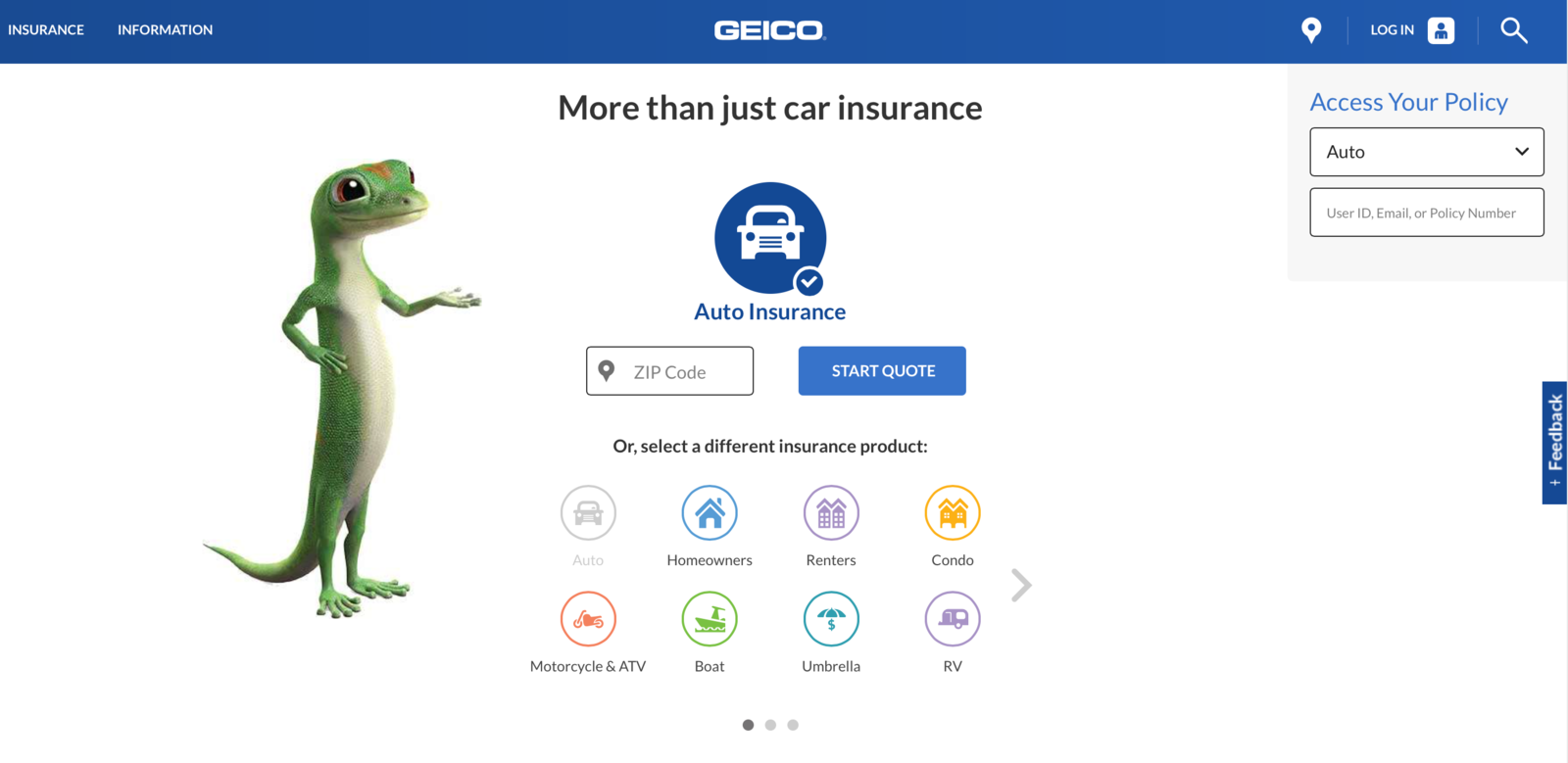 geico website start quote screen