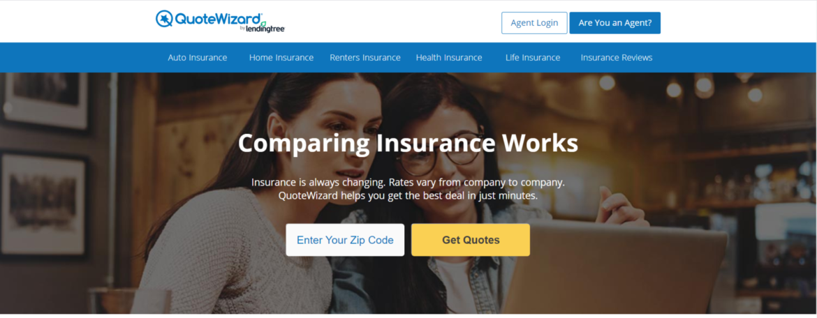 QuoteWizard Auto Insurance Website Home Page