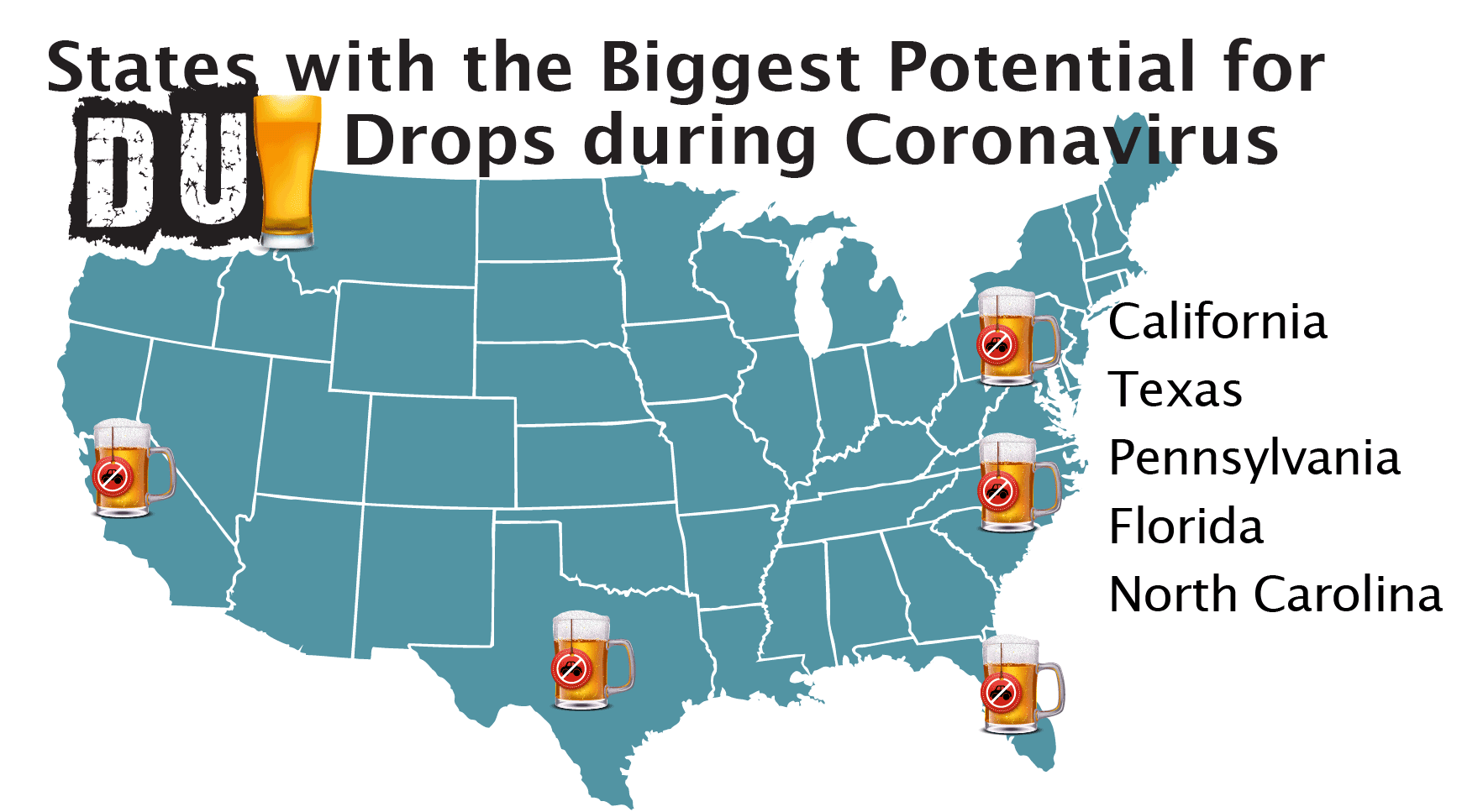 States with Biggest DUI Drop Potential during Coronavirus
