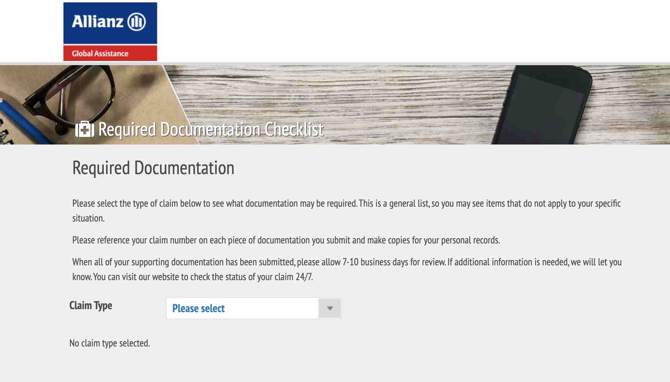Allianz Required Documentation Checklist