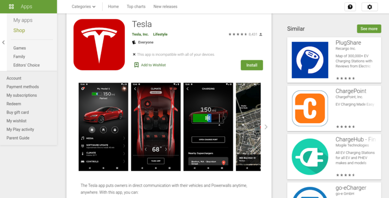 Image of Tesla's app Google Play