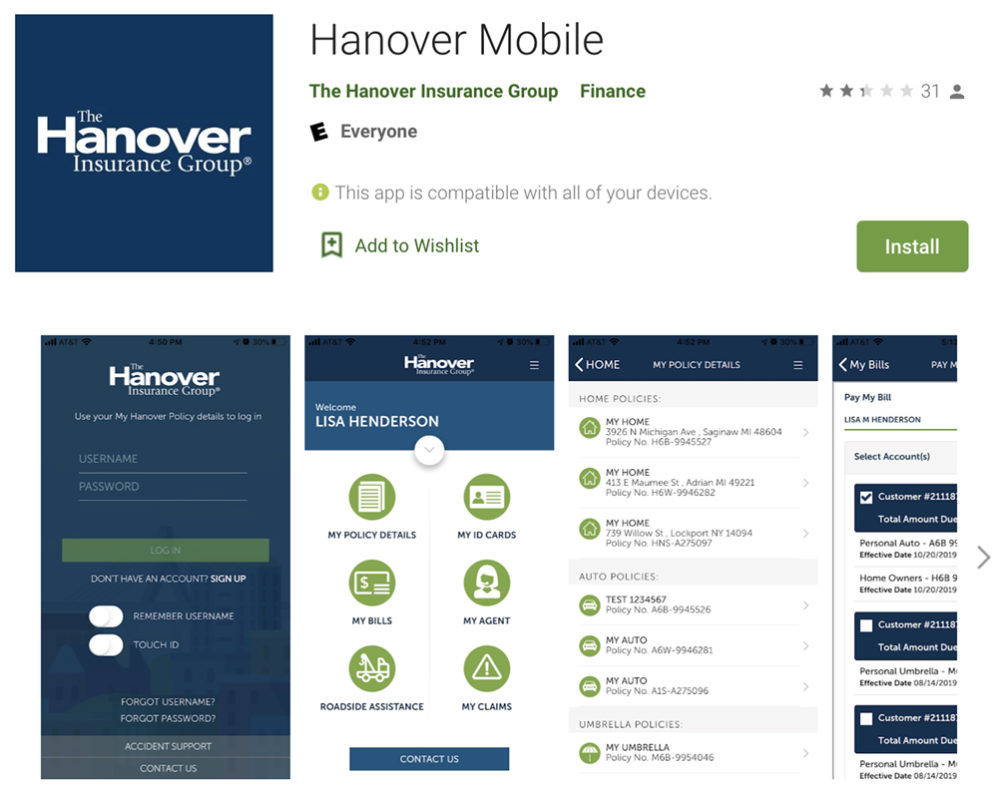 Hanover Auto Insurance Mobile App in Google Play