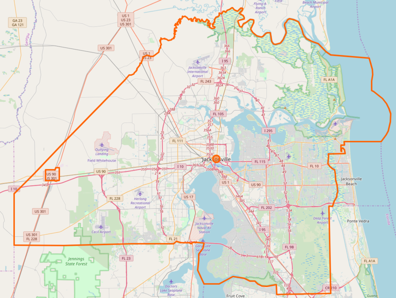 Highway map of Jacksonville
