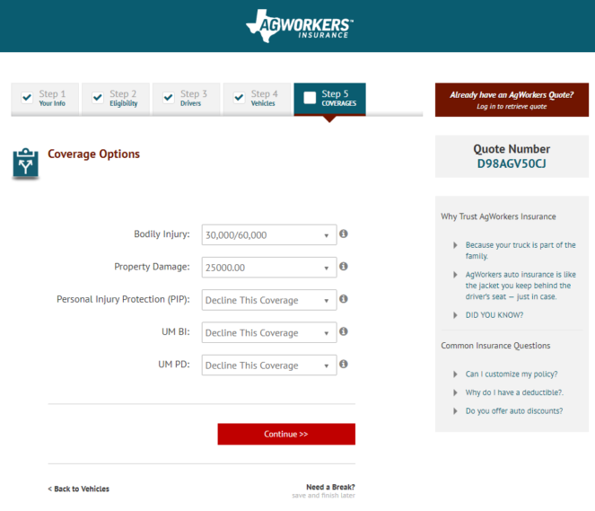 AgWorkers Auto Insurance Website Online Quote, Step 5 Coverages