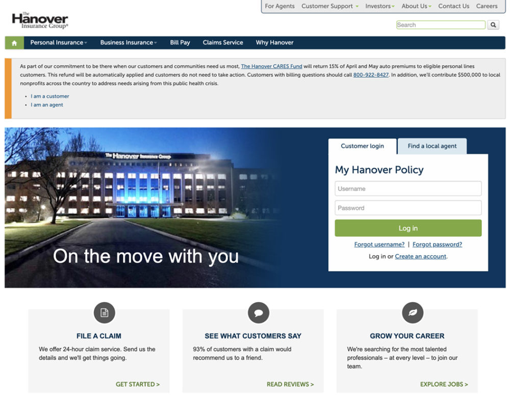 Hanover Auto Insurance Website Homepage