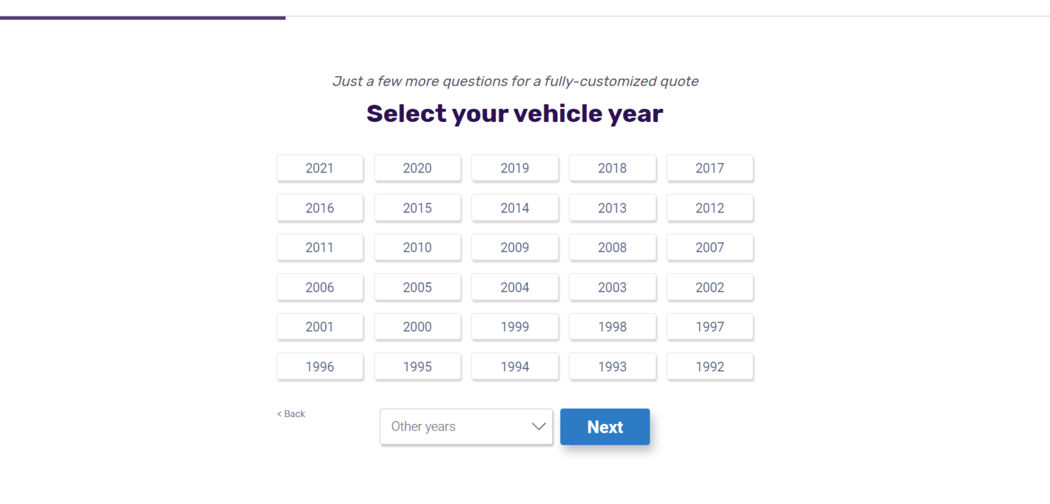 NerdWallet website select your Vehicle Year