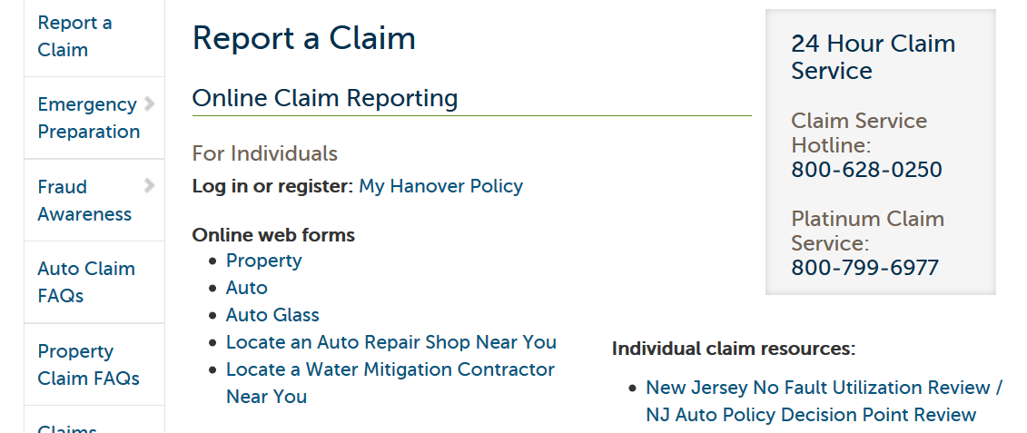 Hanover Insurance Group Report a Claim