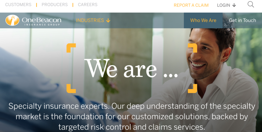 OneBeacon Insurance Group About Web PAge
