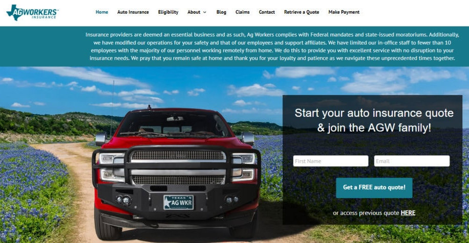 Agricultural Workers Auto Insurance Home Page