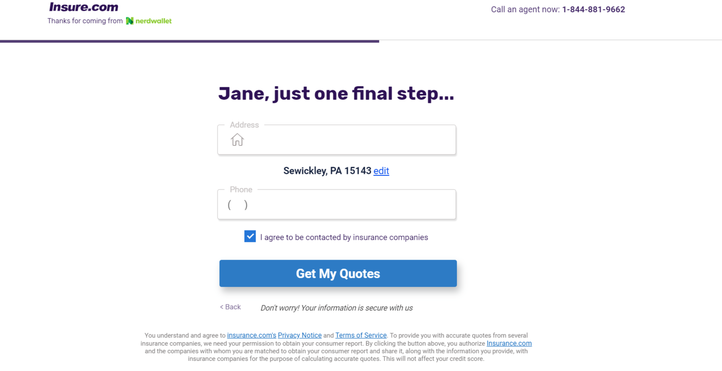 NerdWallet website Final Step