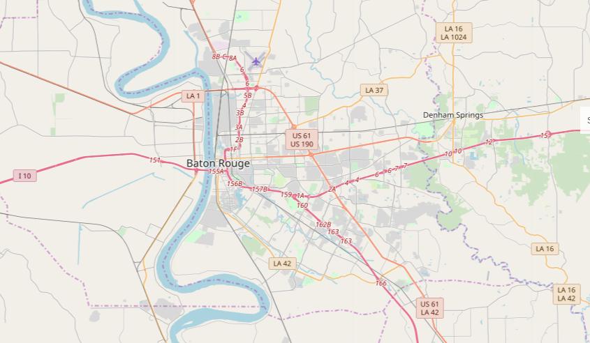 Map of major highways running through Baton Rouge