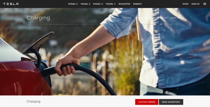 Tesla Website Charging Page