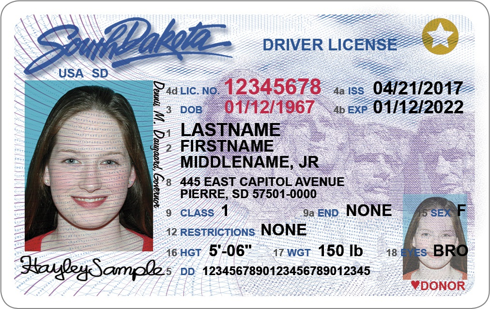 South Dakota REAL ID. From the South Dakota government site.