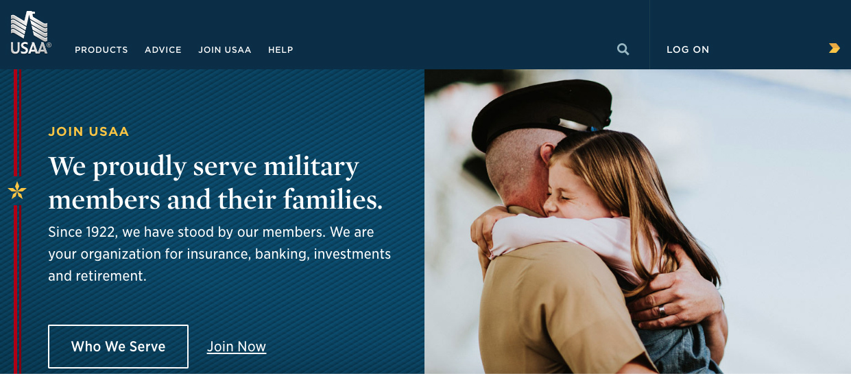 USAA front page www.usaa.com