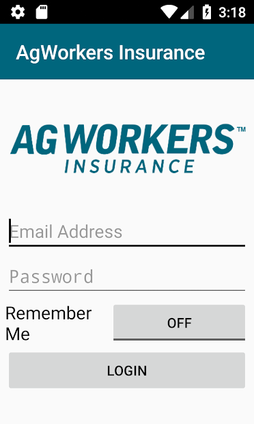 AgWorkers Auto Insurance Mobile App Log-in Screen