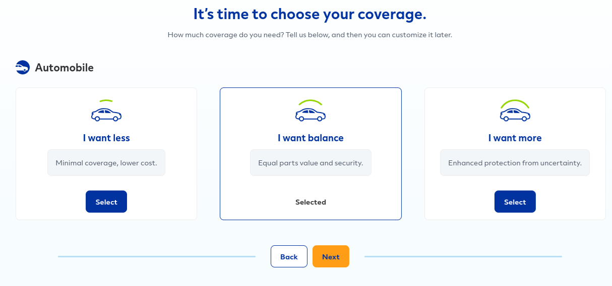Allstate Get a Quote - Coverage Levels