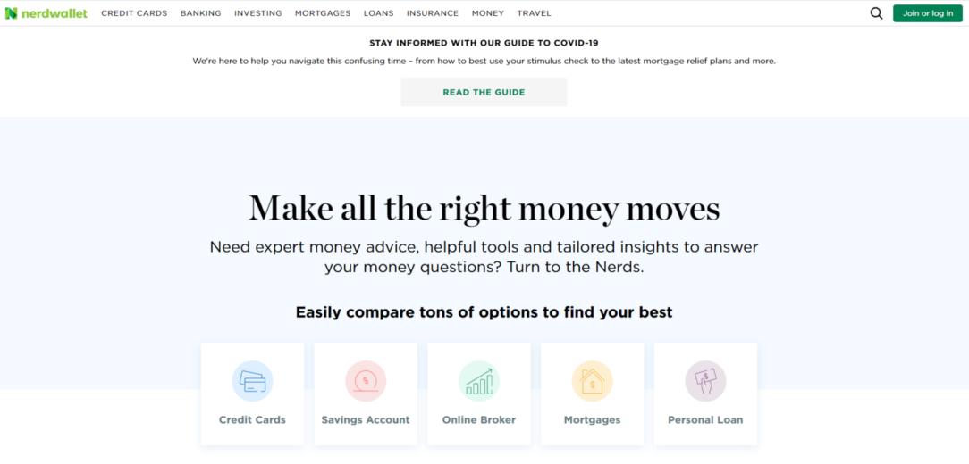 NerdWallet Website Homepage
