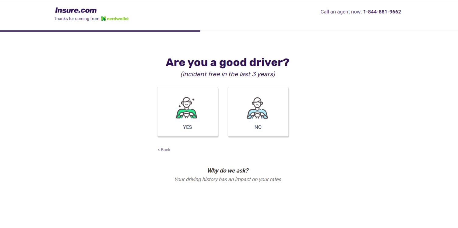 NerdWallet website Driving History