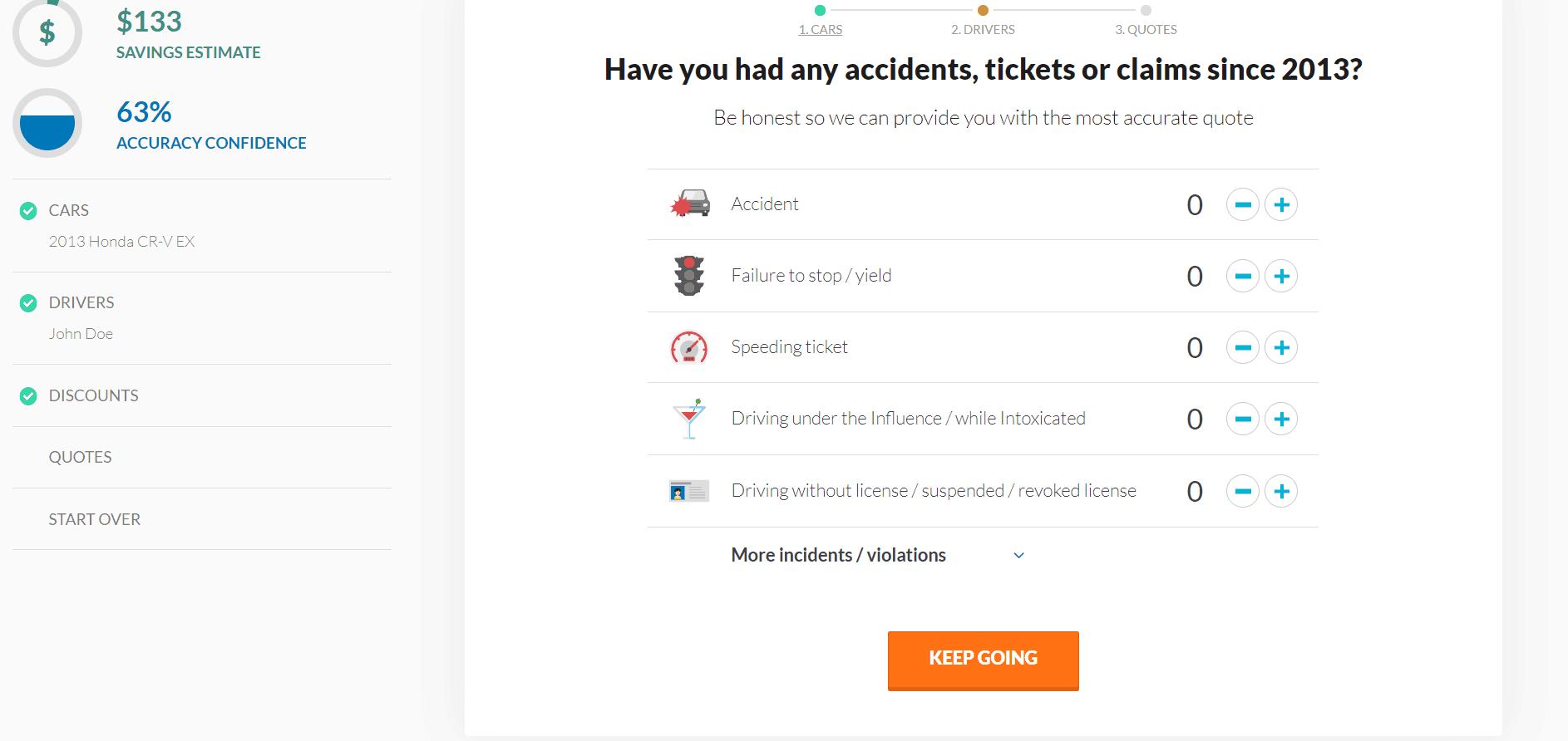 Insurify Website Car Insurance Quote Past Insurance Claims
