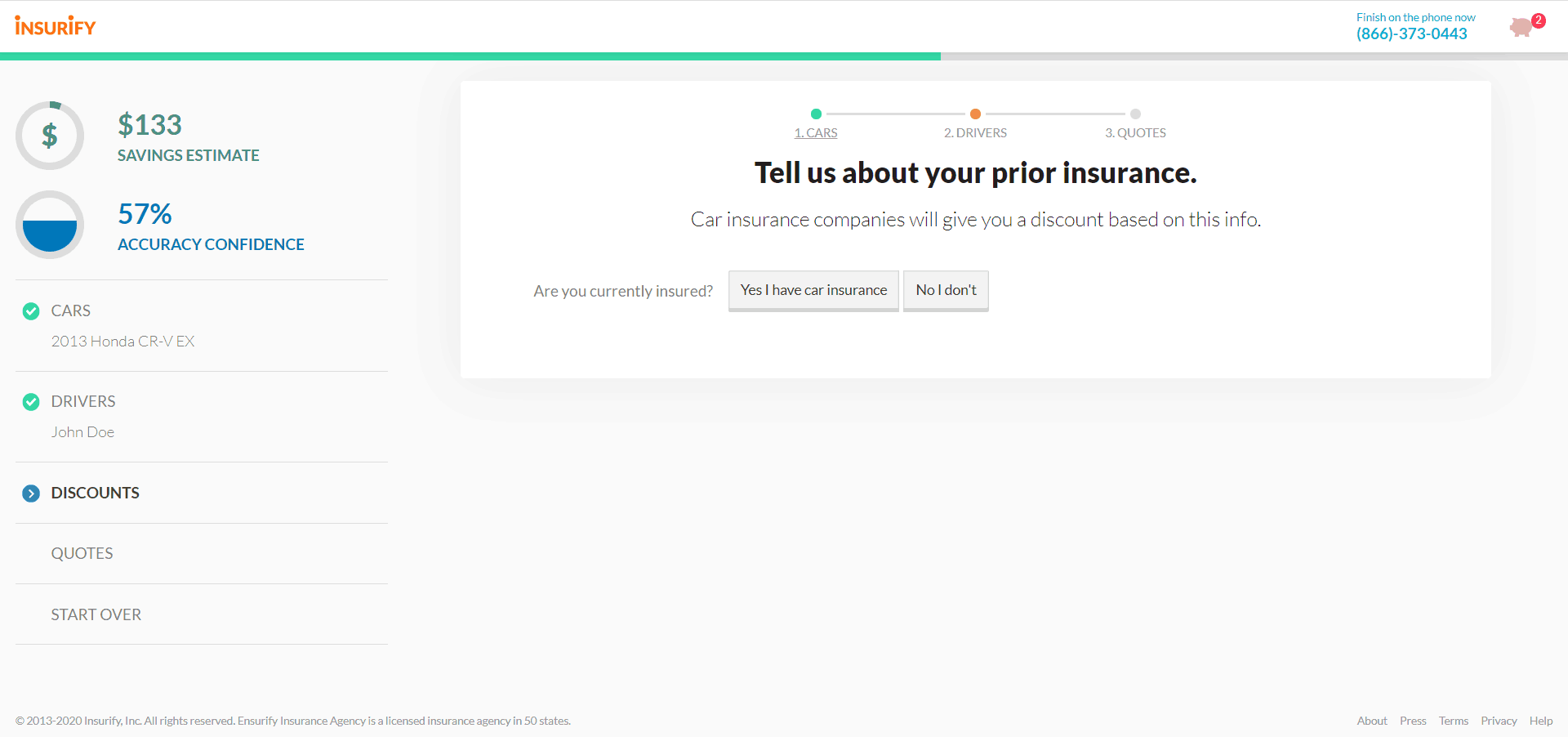 Insurify Website Car Insurance Quote Previous Insurance Info