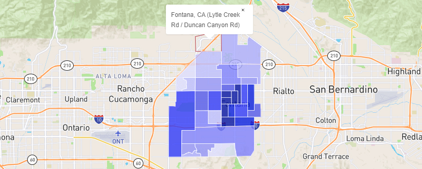Map of Fontana, California safest neighborhoods
