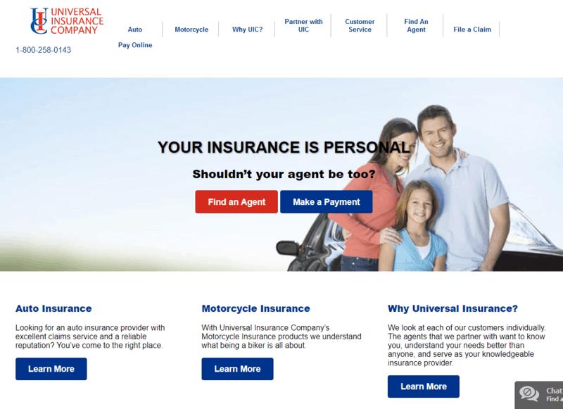 Universal Insurance Company Auto Insurance home page