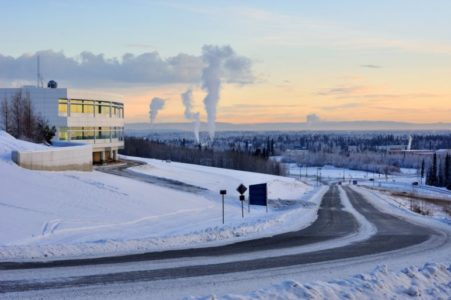 University of Alaska Fairbanks and the city of Fairbanks in winter at sunset