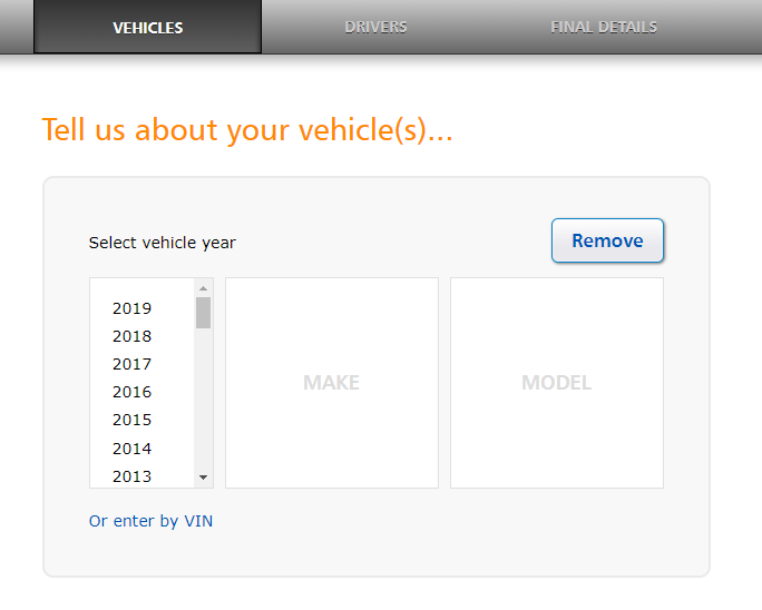 Progressive Auto Insurance vehicle information