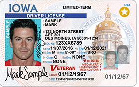 Iowa REAL ID Driver's License Sample