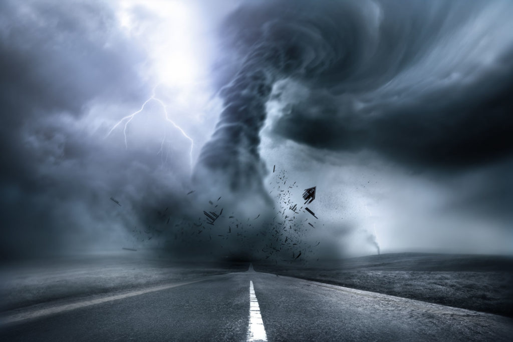 Tornado on road. Preparing your home for disasters