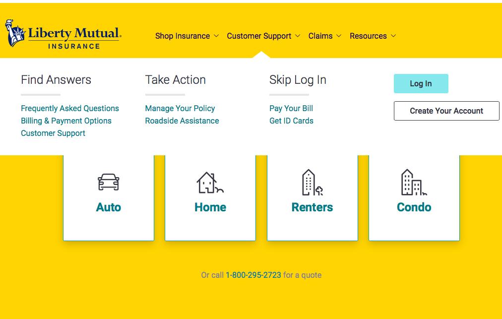 liberty mutual homepage customer support menu