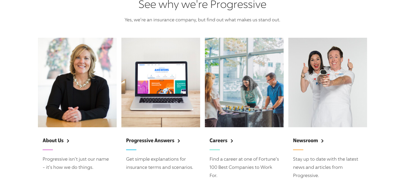 lower middle of progressive home page