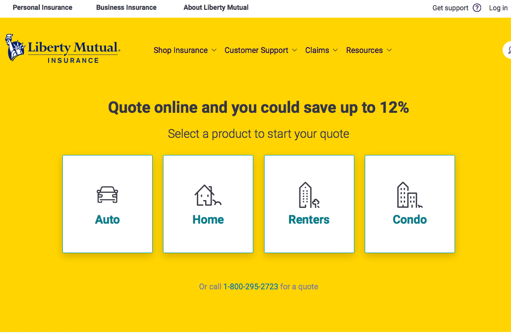 liberty mutual website top of the page