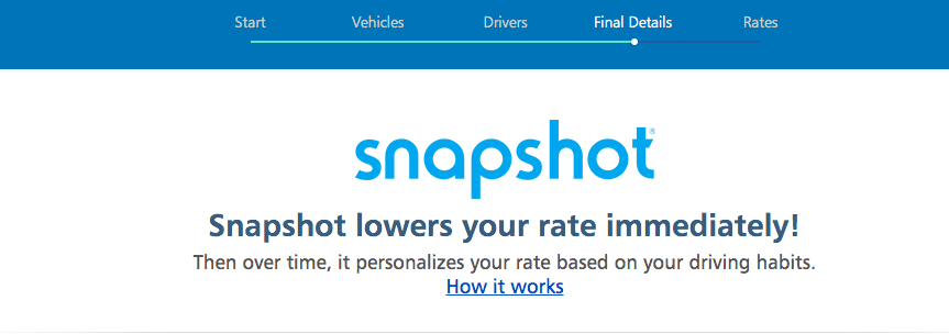 progressive snapshot enroll