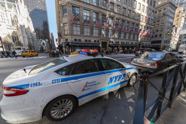 NYPD Police Car at side of city street
