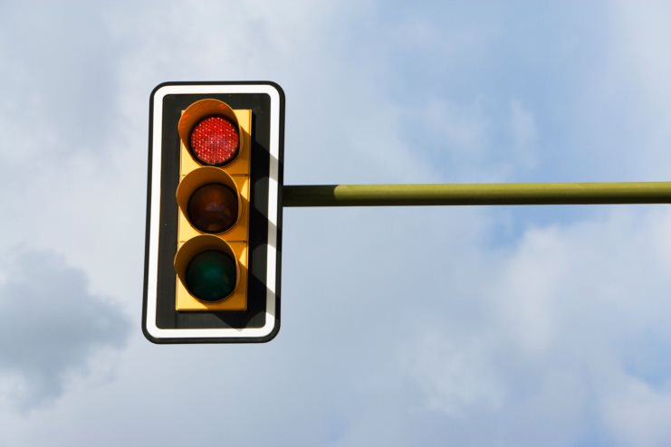 Red light displayed on a traffic signal