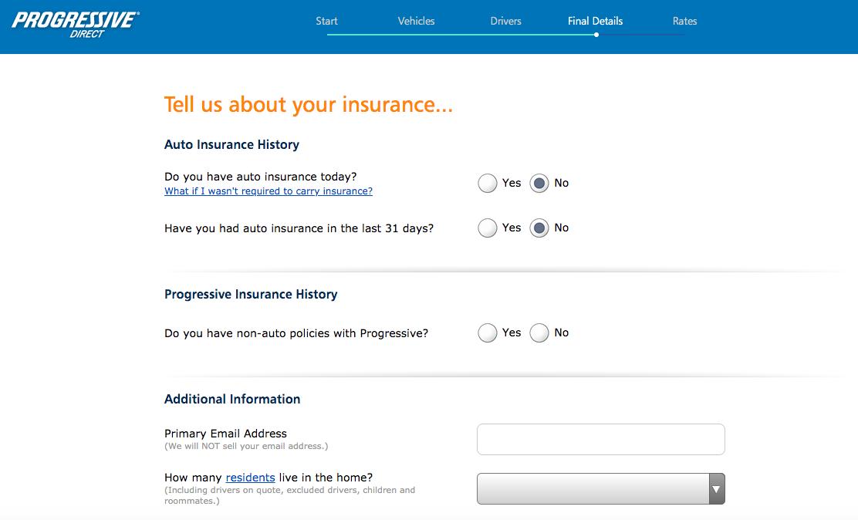 auto insurance history page progressive quote