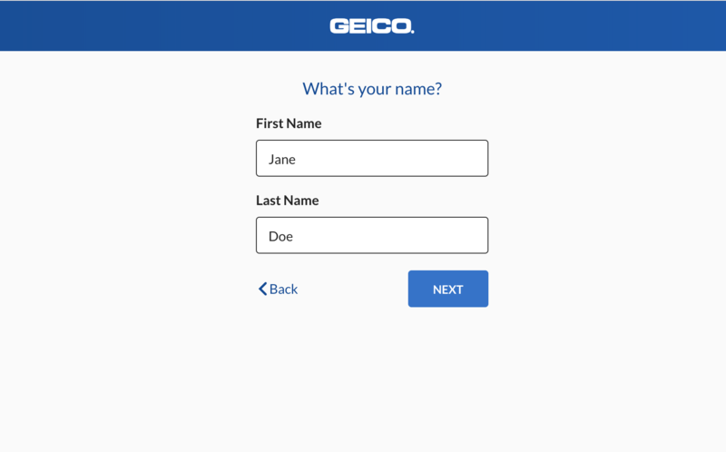 Step 2: Geico Quote - name