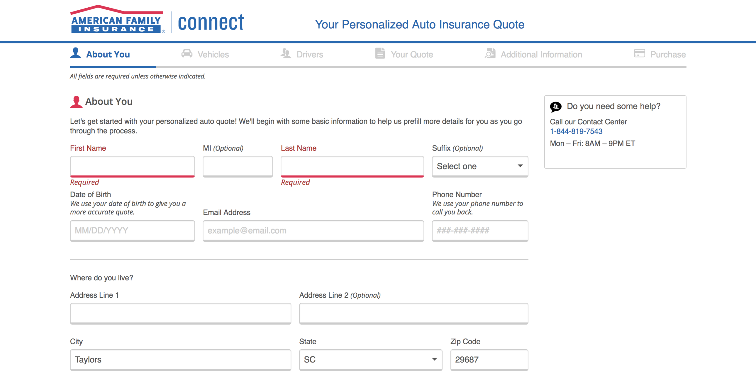 American Family Auto Insurance enter personal information