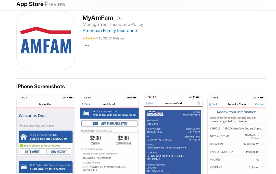 American Family Auto Insurance app